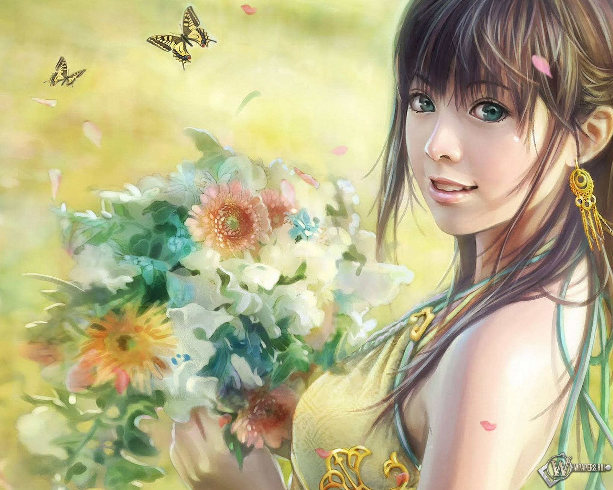 Обои девушка с цветами i chen lin на