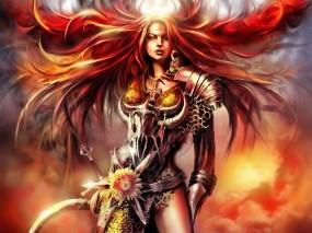 Обои Рыжая девушка воин: Девушка, Ветер, Воин, Рыжая, Фэнтези - Девушки