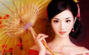 Обои Японский макияж: Девушка, Взгляд, Макияж, Рисунок, Зонт, Фэнтези - Девушки