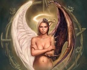 Обои Ангел или демон: Девушка, Рисунок, Ангел, Демон, Фэнтези - Девушки