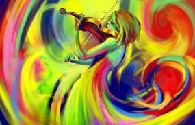Обои Радужная скрипачка: Цвета, Девушка, Рисунок, Скрипка, Фэнтези - Девушки