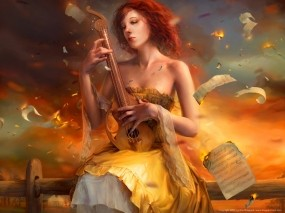 Обои Cynthia Sheppard: Девушка, Музыка, Ноты, Фэнтези - Девушки