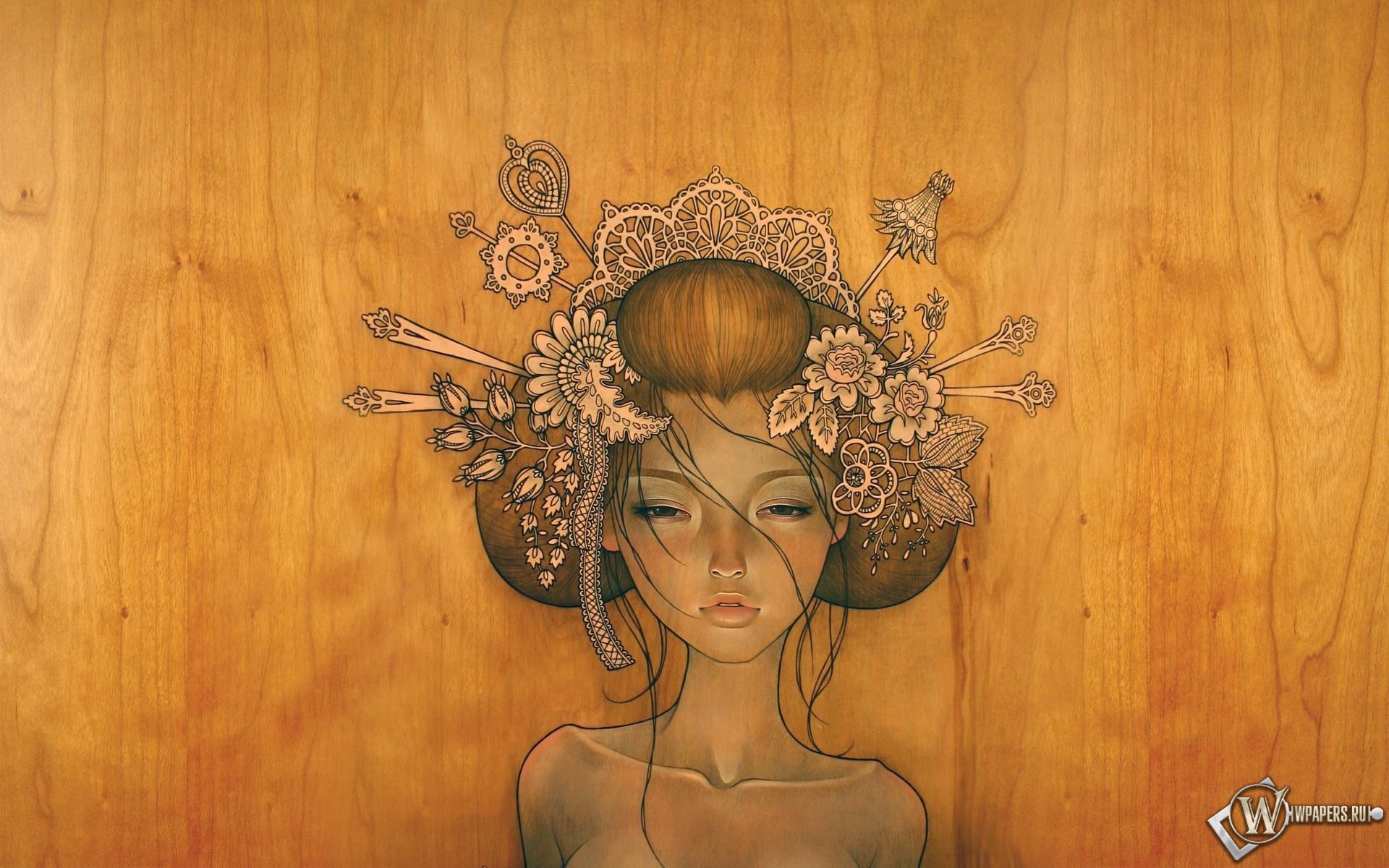 Девушка из дерева 1920x1200
