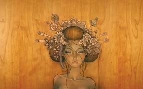 Обои Девушка из дерева: Девушка, Рисунок, Дерево, Фэнтези - Девушки