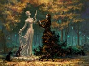 Обои Леди Осень: Девушка, Парк, Скрипка, Кошки, Фэнтези - Девушки