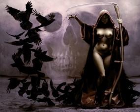 Обои Девушка-смерть: Девушка, Череп, Смерть, Коса, Фэнтези - Девушки
