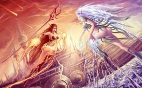 Обои Огонь и лёд: Огонь, Лёд, Девушка, Бой, Магия, Фэнтези - Девушки