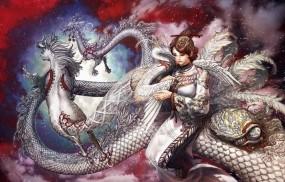 Обои Девушка с животными: Девушка, Дракон, Черепаха, Аист, Конь, Фэнтези - Девушки