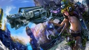 Обои Девушка войны: Девушка, Фэнтези, Пушки, Фэнтези - Девушки