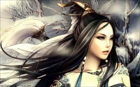 Обои Zhang Xiaobai: Девушка, Тату, Фэнтези, Волосы, Фэнтези - Девушки