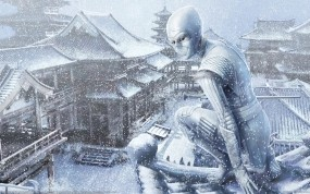Обои Девушка-ниндзя: Зима, Снег, Девушка, Ниндзя, Крыша, Фэнтези - Девушки