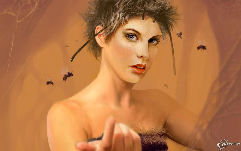 Рисованная девушка 1440x900