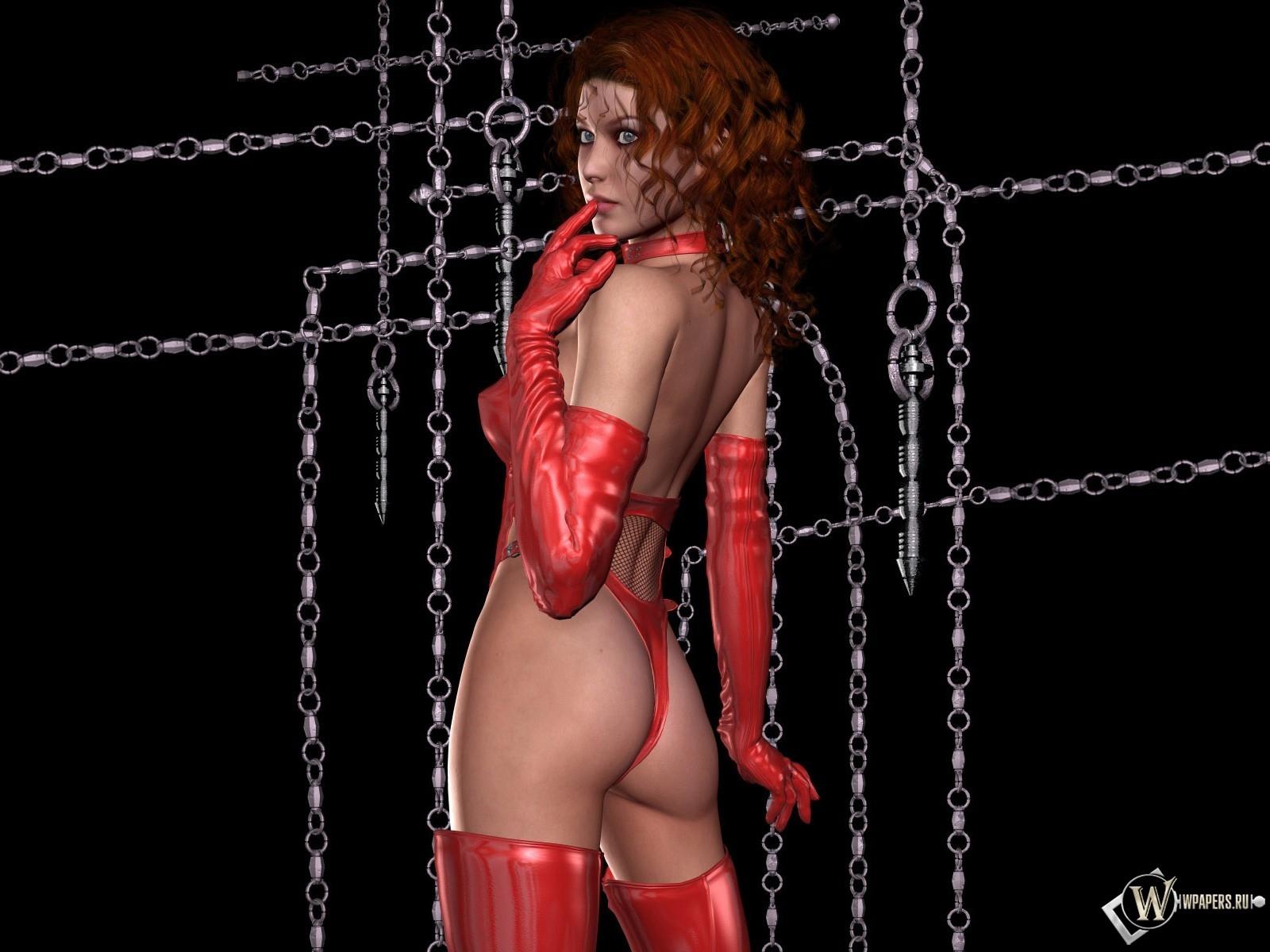 3D Девушка в красном 1600x1200