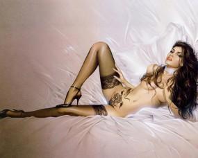 Обои Сексуальная брюнетка: Девушка, Брюнетка, Чулки, Голая, Рисованная эротика, Фэнтези - Девушки