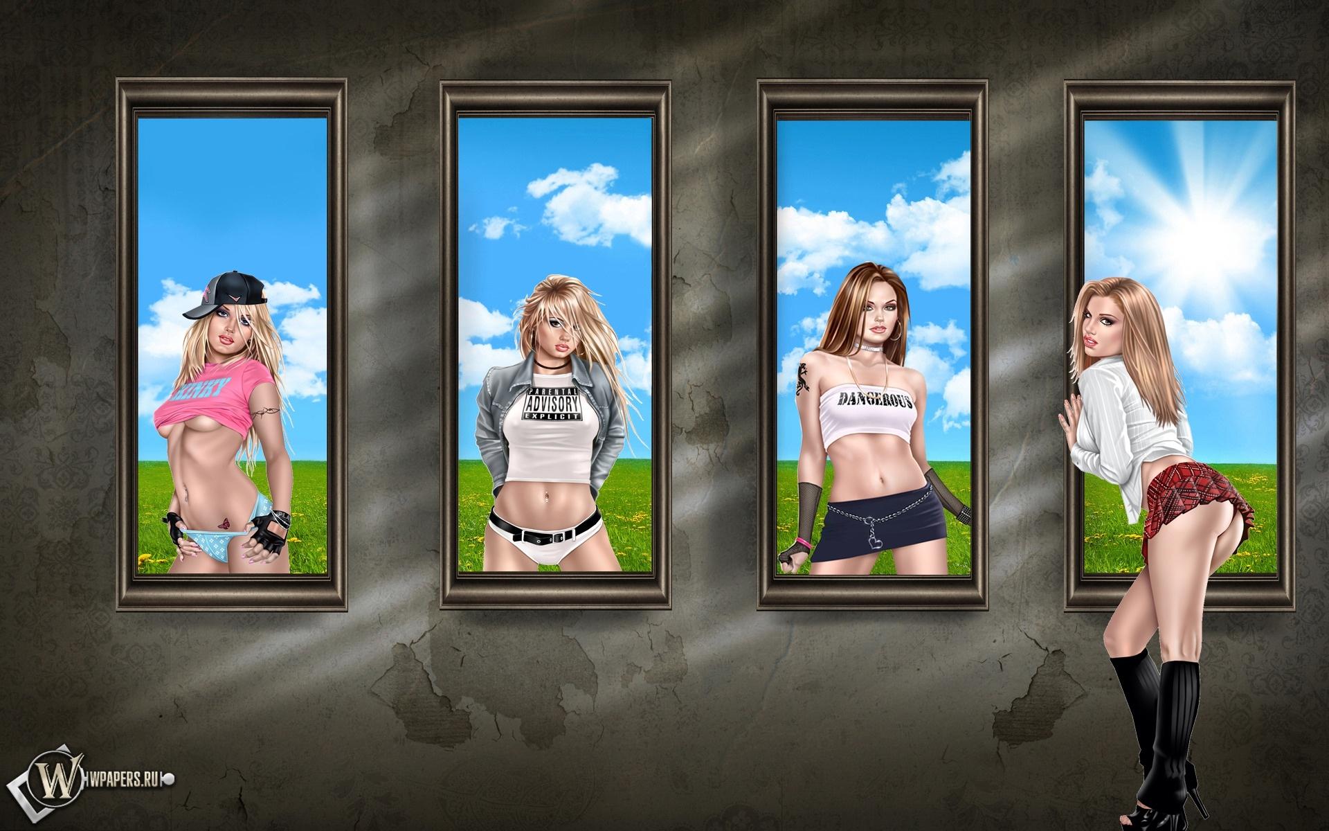 Девушки в окнах 1920x1200