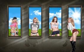 Обои Девушки в окнах: Девушки, Окна, Фэнтези - Девушки