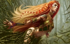 Обои Spirit of the Forest: Лес, Девушка, Эльфийка, Steve Argyle, Фэнтези - Девушки