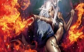 Обои Повелительница огня: Огонь, Девушка, Fair, Фэнтези - Девушки
