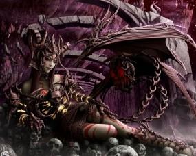 Обои Суккуб: Череп, Демоница, Колдунья, Фэнтези - Девушки