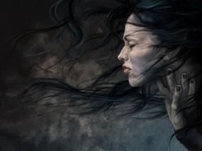 Обои Мрачная девушка: Грусть, Мрак, Волосы, Фэнтези - Девушки