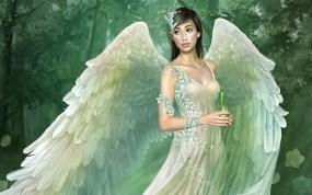 Обои Tang yuehui: Платье, Крылья, Ангел, Фэнтези - Девушки
