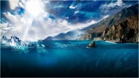 Обои Iceberg by odo: Вода, Солнце, Лучи солнца, Айсберг, Фэнтези - Природа