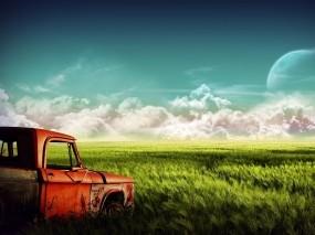 Обои Пикап в поле: Облака, Поле, Пикап, Dodge, Фэнтези - Природа