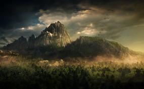Обои Mountain landscape: Облака, Горы, Лес, Фэнтези - Природа
