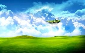 Обои Летающий островок: Облака, Зелень, Остров, Поле, Трава, Небо, Фэнтези - Природа