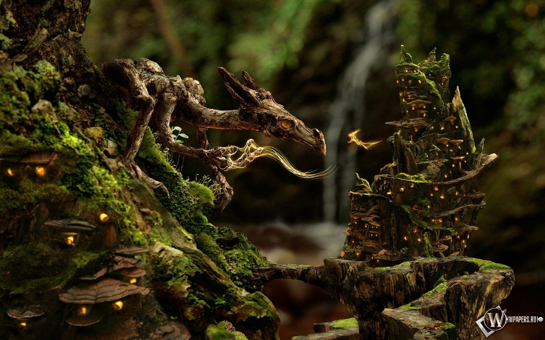 Дракон и фея в лесу 1440x900