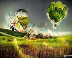 Обои Uvivland: Воздушный шар, Крушение, Коробки, Самолёт, Фэнтези - Природа