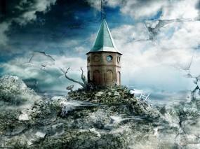 Обои Башня: Фантазия, Часовня, Время, Фэнтези - Природа