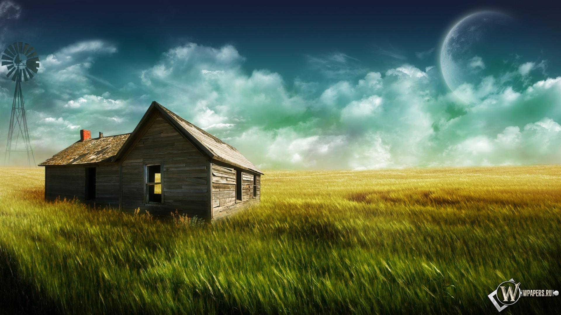 Обои дом в поле поле ферма дом 1920x1080