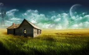 Обои Дом в поле: Поле, Ферма, Дом, Фэнтези - Природа
