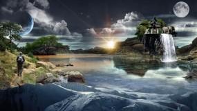 Обои Сказочное место: Вода, Солнце, Планеты, Луна, Человек, Слон, Фэнтези - Природа