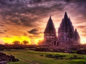Обои 3D Храм: Облака, Храм, Закат, Фэнтези - Природа
