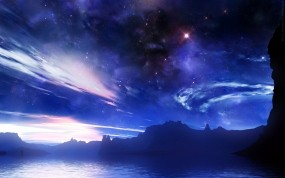 Обои Фантастическое небо: Облака, Звёзды, Небо, Астрономия, Фэнтези - Природа
