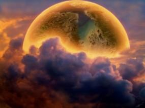 Обои Планета за облаками: Облака, Космос, Планета, Фэнтези - Природа