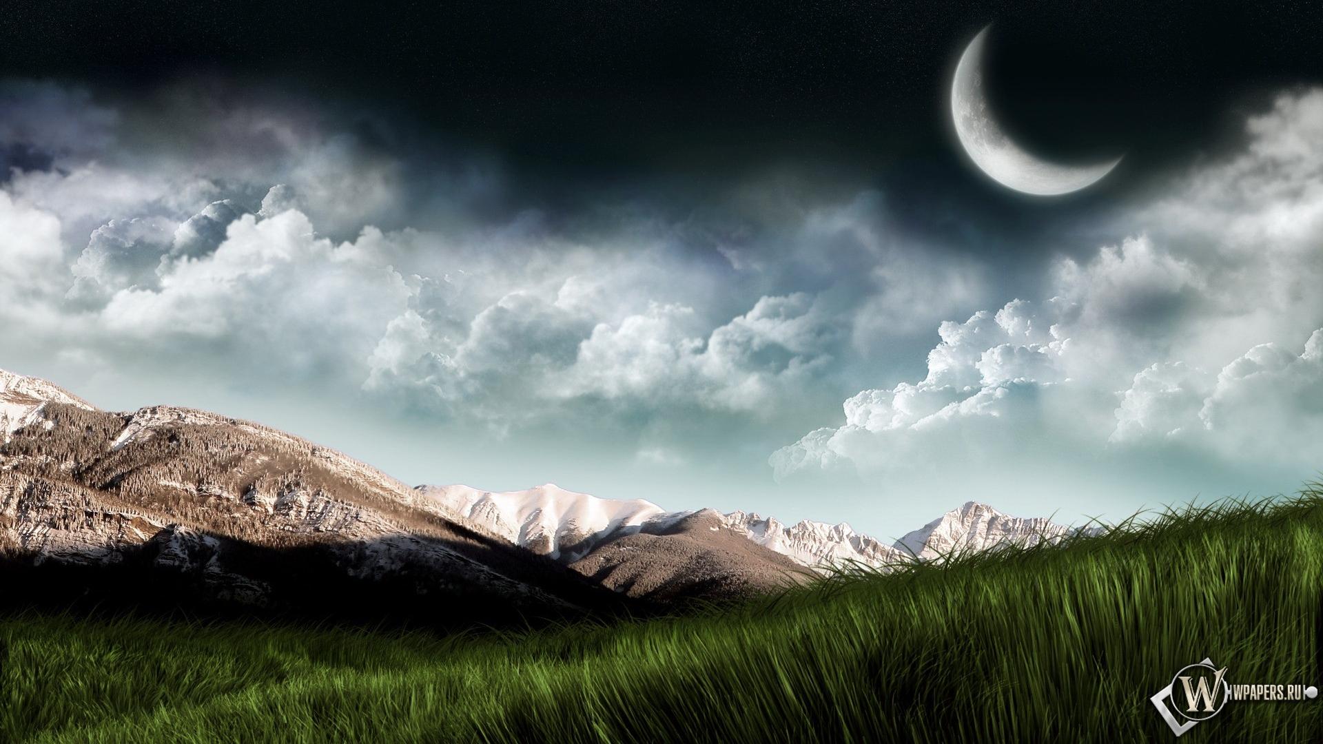 Обои пейзаж горы планета трава небо