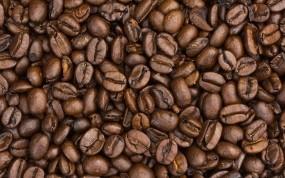 Обои Кофейные зёрна: Чёрный, Макро, Кофе, Еда