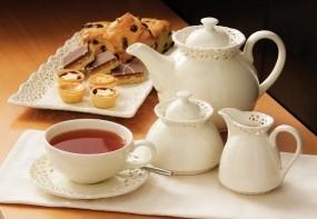Обои Чаепитие со сладостями: Чай, Десерт, Еда