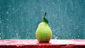 Обои Дождливая Груша: Дождь, Фрукт, Груша, Еда