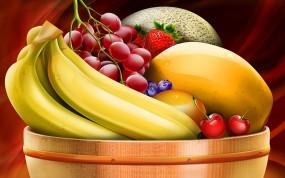 Обои Натюрморт: Виноград, Миска с фруктами, Бананы, Натюрморт, Еда