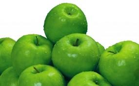 Обои Сочные зеленые яблоки: Зелёный, Яблоки, Еда
