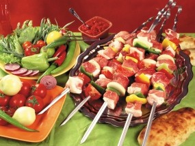Обои Свежий Шашлычок: Овощи, Мясо, Шашлык, Еда