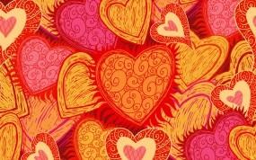 Обои Оранжевые сердечки: Узоры, Оранжевый, Сердечки, Праздники