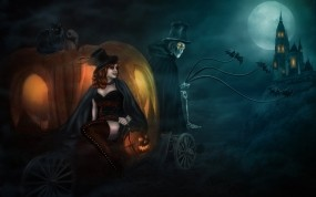 Обои Halloween Cinderella: Девушка, Карета, Хеллоуин, Праздники