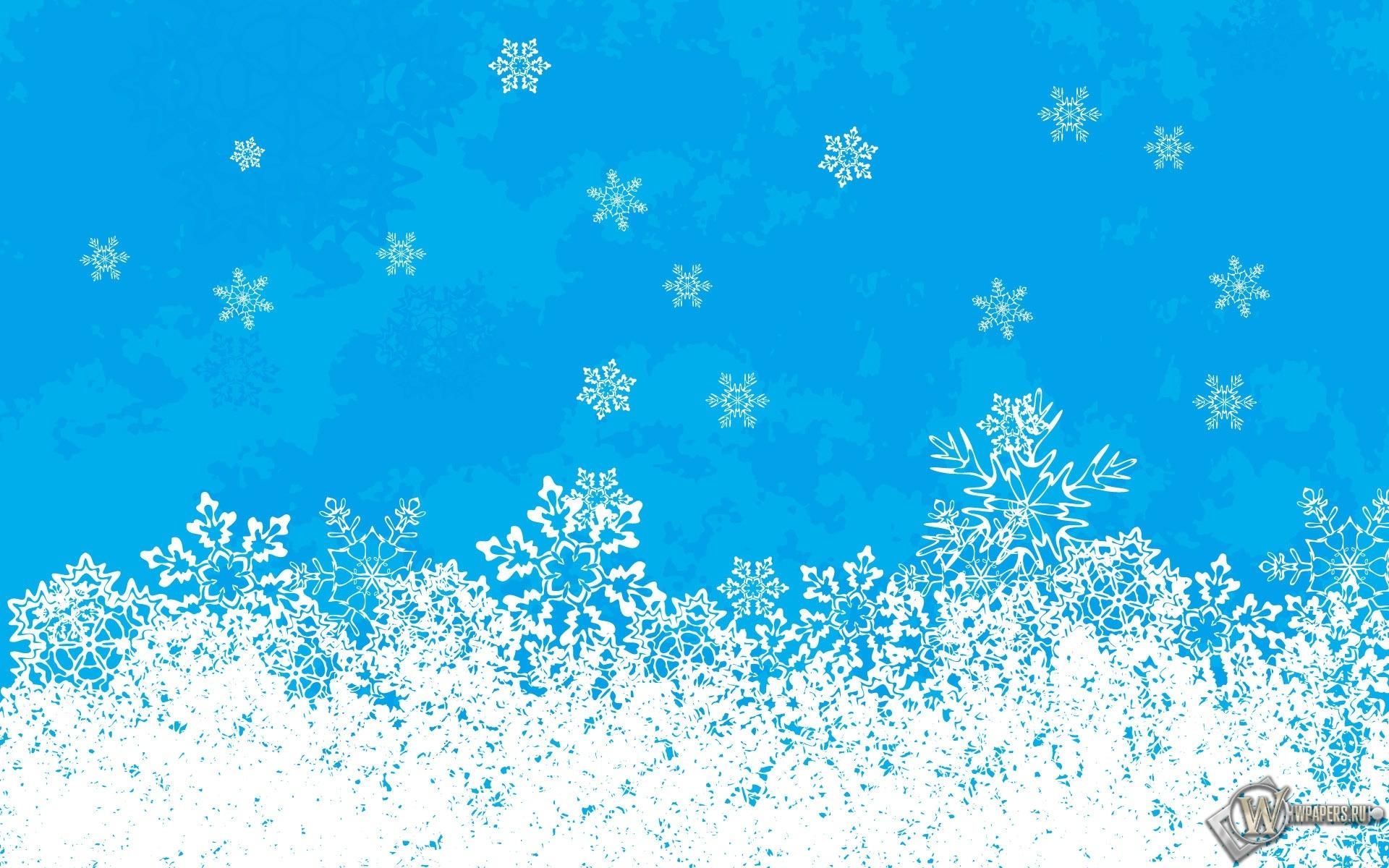Снежинки на голубом 1920x1200