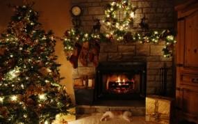 Обои Новогоднее убранство: Камин, Дом, Елка, Праздник, Украшения, Новый год