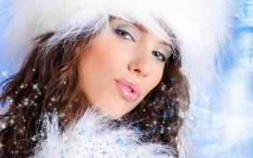 Обои Снегурочка: Зима, Девушка, Глаза, Снегурочка, Праздник, Новый год